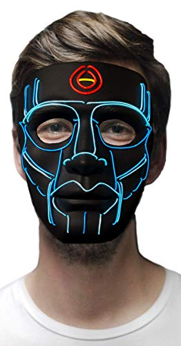 MuraK Light up Mask Sound Activated [ LED Cosplay Masks/Halloween, Christmas, Festival, Party/Flash to Music ] (Blue) ()