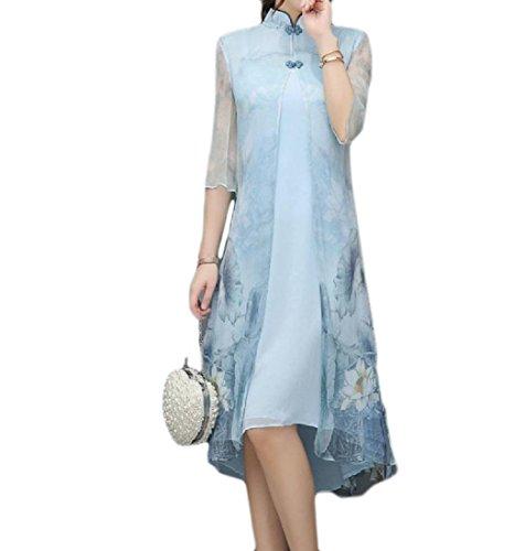 Womens Chinese Silk Cheongsam Dress - 2