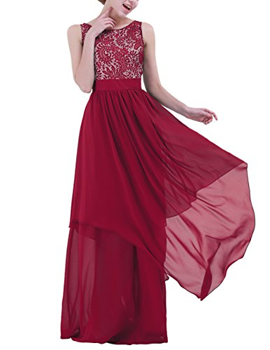 Skirt Dress Full Chiffon Prom (MSemis Women's Elegant V-Back Sleeveless Lace Chiffon Wedding Bridesmaid Party Evening Maxi Dress Burgundy X-Large)