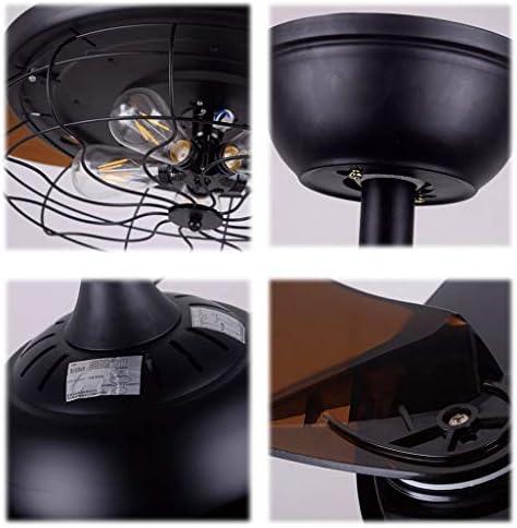 42 Zoll Retro Industrie Deckenventilator Einziehbare Klingen Kronleuchter mit Fernbedienung Dimmbar 3 Lüfter Geschwindigkeiten Beleuchtungskörper für Wohn/ESS/Schlafzimmer