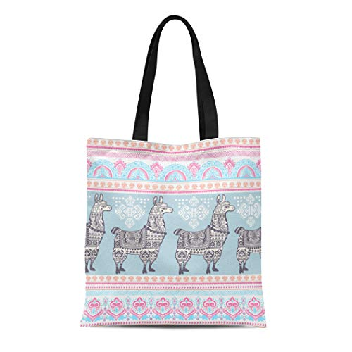 Wool Handbag Tibetan - Semtomn Cotton Canvas Tote Bag Pattern Cute Alpaca Llama Animal Ethnic Ornaments Drawing Lama Reusable Shoulder Grocery Shopping Bags Handbag Printed
