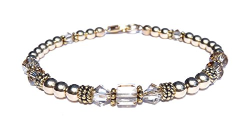 DAMALI 14k Gold Fill & Antiqued Vermeil Beaded Bracelet, Silver Shadow Non-AB Finish Crystal Bracelet, Handmade Swarovski Crystal April Birthstone Bracelet - Antiqued Gold Bracelet