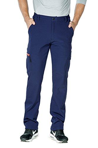 Nonwe Men's Windproof Water-Resistant Softshell Fleece Ski Pants Blue Granite-1 XL/32 (Blue Granite Shell)