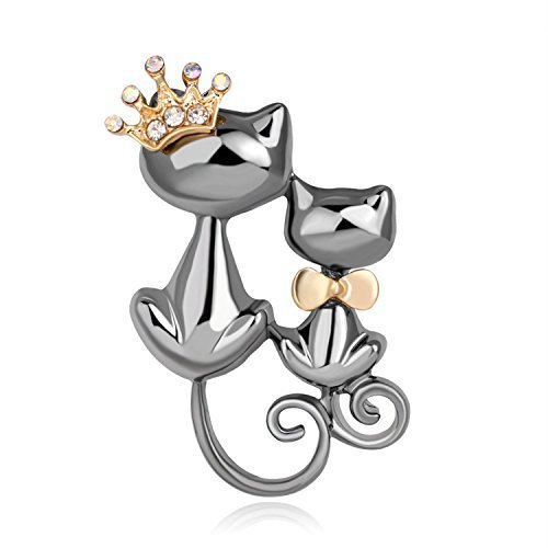 Joyfulshine Women's Cat Decorated with Rhinestone Brooch Pin