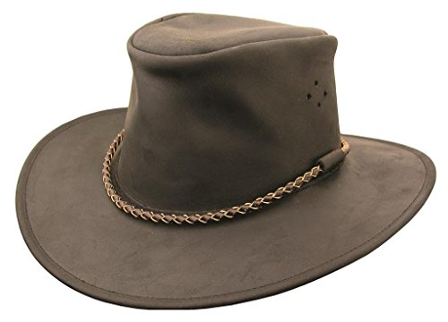 (KakaduTraders Australia , Sydney Leather Hat, Oilskin Waxed KTA Black)