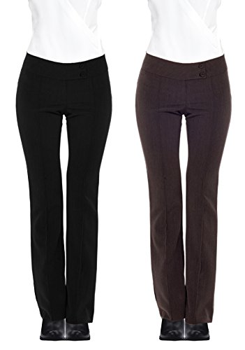 Women's Formal Career Fitted Knit Double Button Textured Long Pants