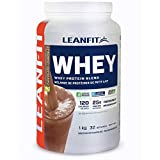LeanFit 100% Whey Protein with Whey Isolate, Natural Chocolate Flavour, Gluten-Free, 1 Kg