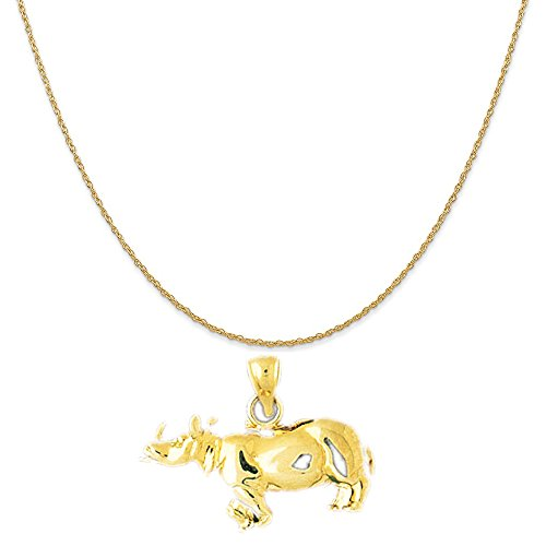 14k Yellow Gold Rhinosaurus Pendant on a 14K Yellow Gold Carded Rope Chain Necklace, 18'' by Eaton Creek Collection
