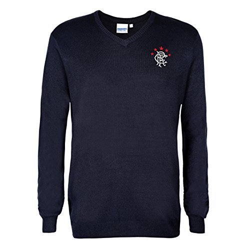 Rangers FC Official Soccer Gift Mens Crest Knitted V-Neck Jumper Navy Medium 7f921d050