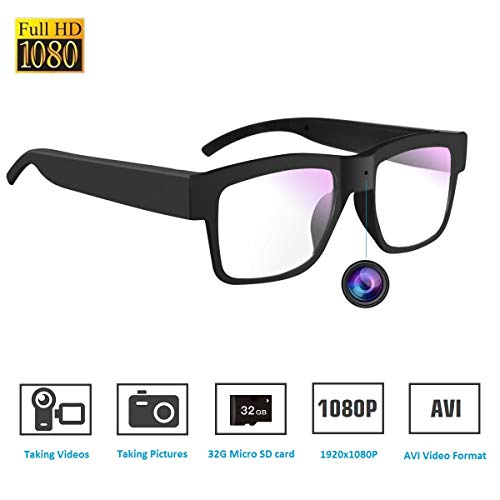 Hidden Camera Glasses,1080P Mini Glasses Camera Wearable Camera for Office/Outdoor/Training/Teaching/Kids/Pets