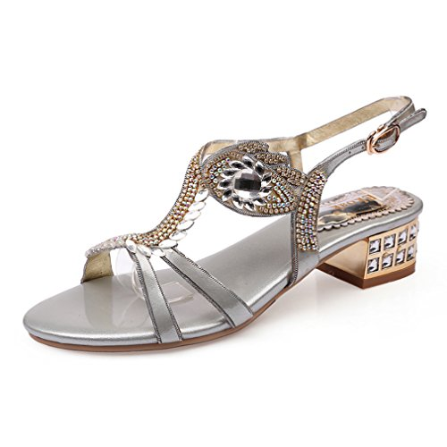 Women Sandals Party Shoes Sexy Beads Rhinestone Decorative Ankle Strap Crystal Med Heel