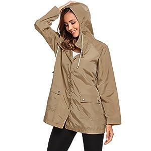 Zeagoo Women's Waterproof Hooded Active Rain Jacket Windbreaker Khaki