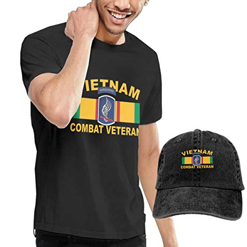 KFR&KNED 173rd Airborne Vietnam Combat Veteran Men's Fashion Short Sleeve T-Shirts and Washed Baseball Cap