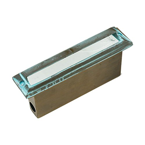 Best Quality Lighting LV54VRD Brass Constructed Outdoor Step Light with Clear Glass Shade, Green Verde Finish