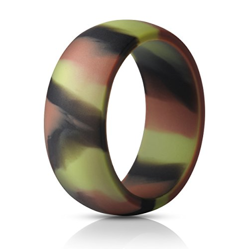 ThunderFit Silicone Ring Wedding Band for Men - 1 Ring (Camo, 6.5-7 (17.3mm)) (Camouflage Wedding Rings For Him And Her)