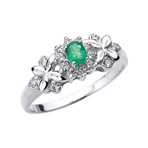 - Solid 10k White Gold Diamond with Emerald Engagement Ring (Size 8)