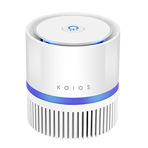 Air Purifier,KOIOS Desktop Air Filtration with True HEPA Filter, Compact Home Air Cleaner for Rooms and Offices,Odor Allergen Allergies Eliminator, with 2 Speeds,100% Ozone Free