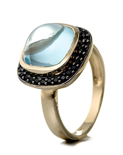 Sterling Silver Transparent Ring (Women's Ring 925 Sterling Silver, Gold Plated Genuine Gemstone: Blue Topaz)
