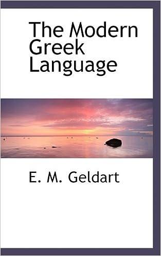Book The Modern Greek Language