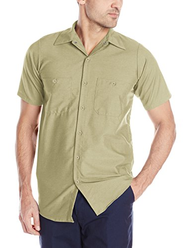 - Red Kap Men's Industrial Work Shirt, Regular Fit, Short Sleeve, Khaki, Medium