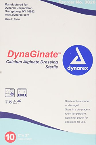 Dynarex Dynaginate Calcium Alginate Dressing, 10 Count/2 x 2 Inch