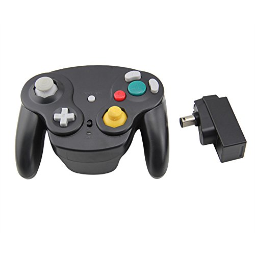 Wavebird Style Wireless Controller compatible for Gamecube Nintendo Wii by Mario Retro - Black