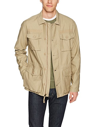 Goodthreads Men's 4-Pocket Military Jacket, New British Khaki, Small