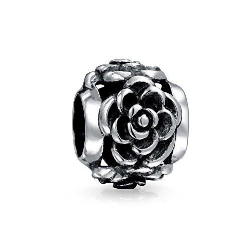 Bling Jewelry 3D Rose Flower Oxidized Bead Charm .925 Sterling Silver