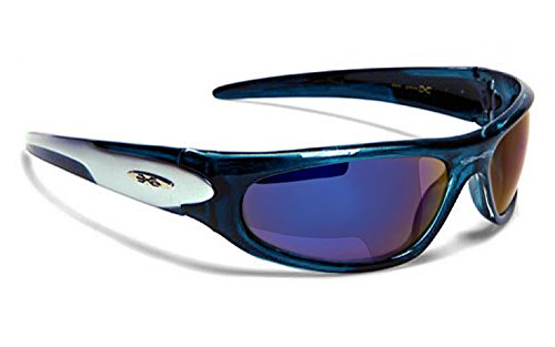X-Loop Lunettes de Soleil - Sport - Cyclisme - Ski - Vtt - Moto - Plage / Mod. 012P Bleu Gris Ice Blue c7qSH3Ch
