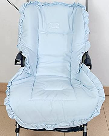 Colchoneta para silla de paseo universal pique celeste. Funda silla de coche. Mundi Bebé.