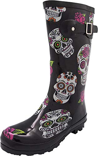 NORTY - Womens Hurricane Wellie Printed Rose Skulls Mid-Calf Rain Boot, Black 40713-6B(M) US