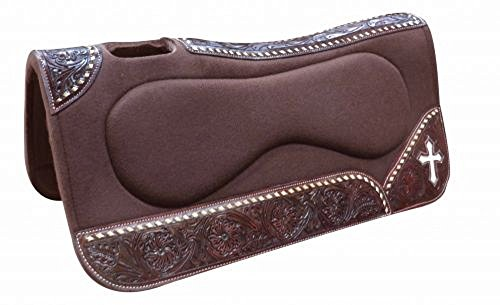 31″ X 32″ Brown Felt Saddle Pad Contoured Build Up Bars Leather Spine Floral Tooled Wear Leathers Cross Inlay
