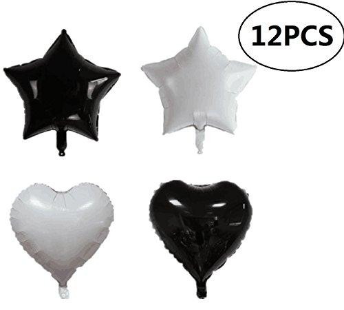 EBTOYS Foil Mylar Helium Balloons Lot Star Shape Balloons for Halloween Party Decorations,18inch,12-Pack(Black & White)]()