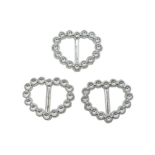 50 Pcs 24x20mm Heart-Shaped Silver Acrylic Embellishment Button Buckle Chair Sash Ribbon Slider for Invitation Wedding Letter