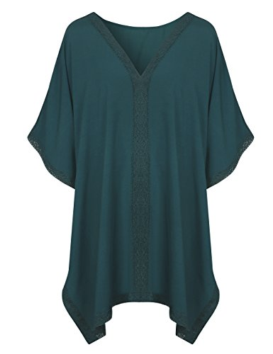 Price comparison product image Walant Womens Solid Oversized Beach Cover Up Swimsuit Bathing Suit Beach Dress (One Size, X-Dark Green)