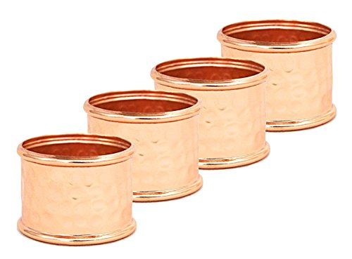 - Alchemade Round Hammered Copper Napkin Rings (Set of 4) - by