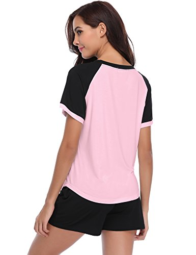 En De T Femme Pink Courtes Avec Coton 2 shirt Clair Top Pcs Pyjama Ensemble Pantalon Aibrou Manches wCYI5q