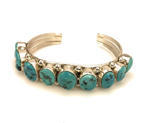 Masha Flash Sale ! Sterling Silver Bracelet By Vintage Old Pawn Turquoise, Made in USA - Exclusive Southwestern Handmade Jewelry, 5 Stone (Old Pawn Turquoise)