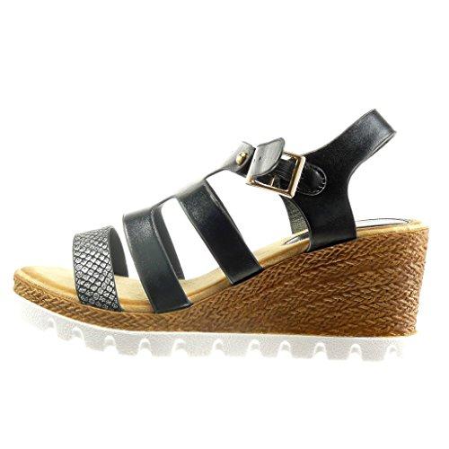 Angkorly - Zapatillas de Moda Sandalias Mules suela de zapatillas zapatillas de plataforma mujer piel de serpiente tachonado Talón Plataforma 7.5 CM - Negro
