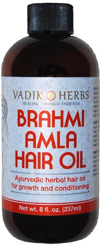 Brahmi Amla Hair Oil (8 oz) by Vadik Herbs | Ayurvedic herbal hair growth oil and hair conditioning oil | Great for hair loss, balding, thinning of hair, for beard growth, herbal scalp treatment ()