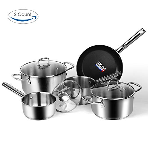 Viewee Stainless Steel Cookware Set 8-Piece Tri-Ply Non-stick Pans and Pots, Dishwasher & Oven Safe with Tempered Glass Lids
