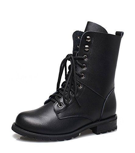 Women Fleece Ankle Military Boots Lace-up Army Combat Black Punk Shoes Chunky - Black Punk Shoes