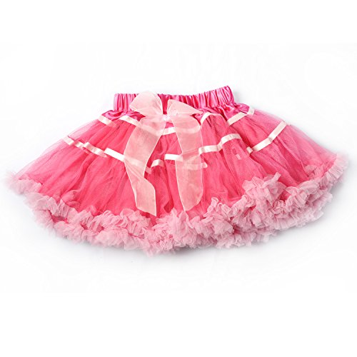 LCLHB Girl's Mix-Color Dance Tutus Chiffon Pettiskirt Rose and Pink -