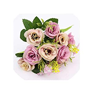 crystal004 10 Heads/Bouquet Artificial Flowers Small Bud Silk Rose Simulation Flowers Green Leaves Home Vase Garden Decoration for Wedding,Purple 30