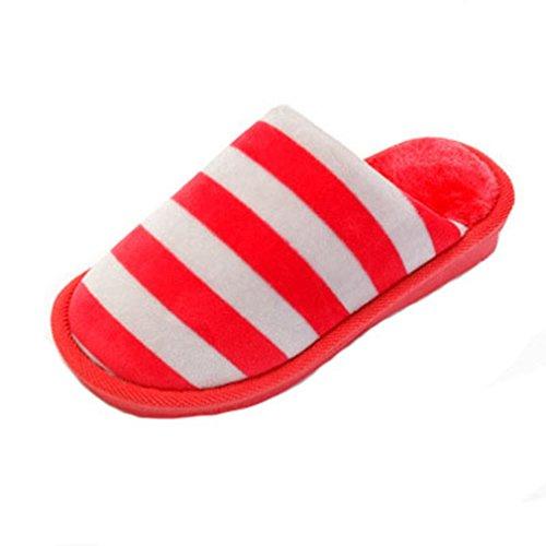 GIY Winter Warm Women/Men Couples Slippers Indoor Soft Plush Cozy Anti-slip Slippers Stripe House Slipper Orange Geut4