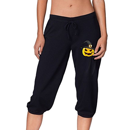 Halloween Evil Pumpkin With Witch Hat Summer Casual Capri Pants Elastic Waist Joggers Cropped Trousers For Women's