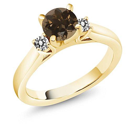(Gem Stone King 1.00 Ct Smoky Quartz & White Diamond 18K Yellow Gold Plated Silver 3-Stone Ring (Size 8))