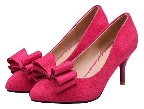 Amoonyfashion Da Donna Con I Tacchi A Punta Gessati Imitato In Pelle Scamosciata Solide Pompe-scarpe Rosate