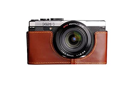 89d0d6eef3d5 Amazon | TP PENTAX ペンタックス MX-1 (MX1)用本革レンズカバー付カメラケース(電池, SDカード交換可) ブラウン |  カメラバック・ケース 通販