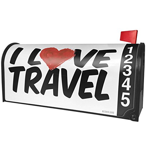 NEONBLOND I Love Travel Magnetic Mailbox Cover Custom Numbers by NEONBLOND